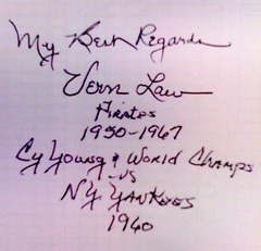 Vern Law's autograph