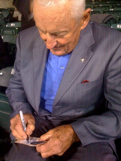 Vern Law signing autographs