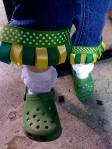 Homemade cuff detailing and green crocs. Do we not have the cutest Little A's?!
