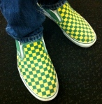 LOVE the green/yellow fans. If you find them in the stores, let me know. I'm a size 8.5.