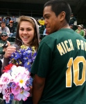 Danny surprised his girlfriend Michelle and asked her to prom on Diamond Vision. She said yes!