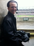 Diamond Vision cameraman Jon waiting out a drizzle