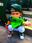 "A 2-year old A's fan doing the ""Kurt Suzuki."" Adorable!"